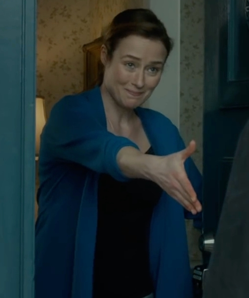 Jennifer Ehle with Lauren Ralph Lauren Rib-Knit Shawl Cardigan in The Fundamentals of Caring