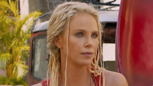 Charlize Theron with Sarah Loertscher Particle Earrings in The Fate of the Furious