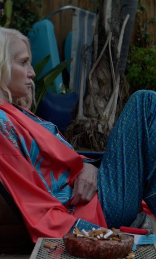 Ellen Barkin with Cosabella Bella Printed Long-Sleeve Pajama Set in Animal Kingdom