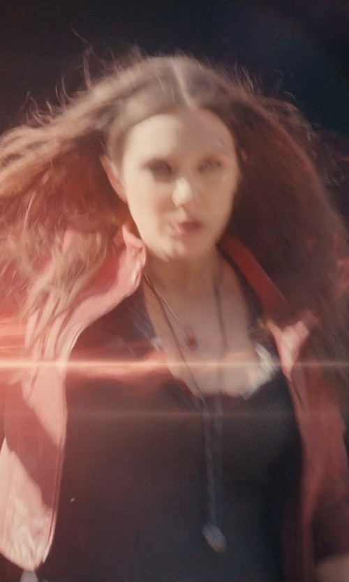 Elizabeth Olsen with Helzberg Diamonds Lab-Created Ruby Pendant Necklace in Avengers: Age of Ultron