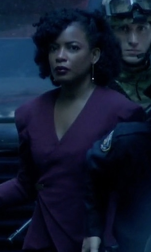 Aunjanue Ellis with Nanette Lepore Leo Tweed Blazer in Quantico