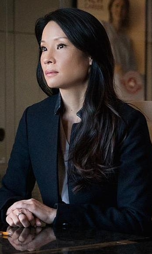 Lucy Liu with Emporio Armani V-Neckline Blouse in Elementary