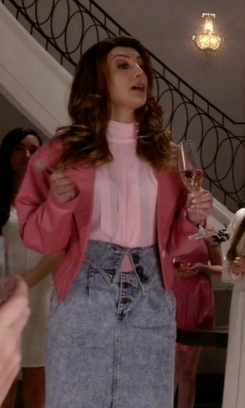 Nasim Pedrad with Vintage Forenza High Waisted Acid Wash Foldover Denim Skirt in Scream Queens