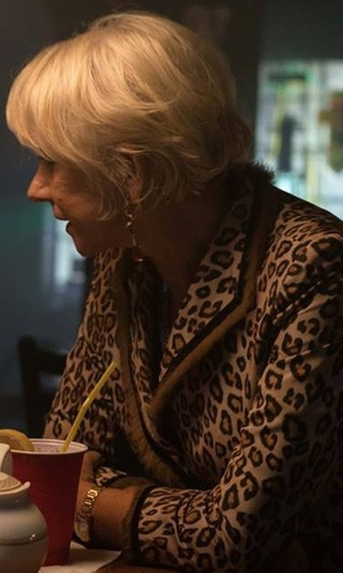 Helen Mirren with Lafayette 148 New York Vanna Leopard-Print Jacket in The Fate of the Furious