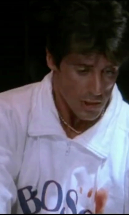 Sylvester Stallone with Ralph Lauren Blackwatch Half-Zip Pullover in Rocky IV