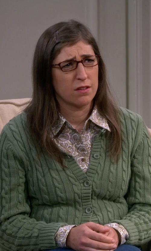 Mayim Bialik with P.A.R.O.S.H. Cable Knit Cardigan in The Big Bang Theory