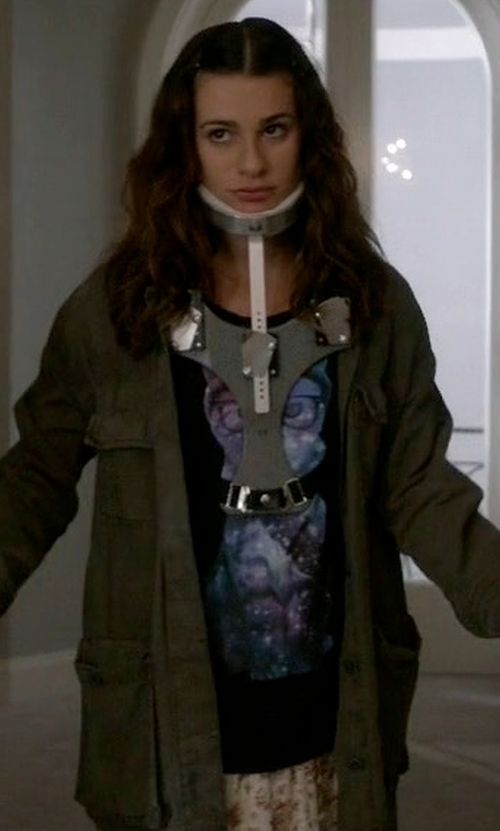 Lea Michele with A-Lab Cosmic Cat Scoop Neck T-Shirt in Scream Queens