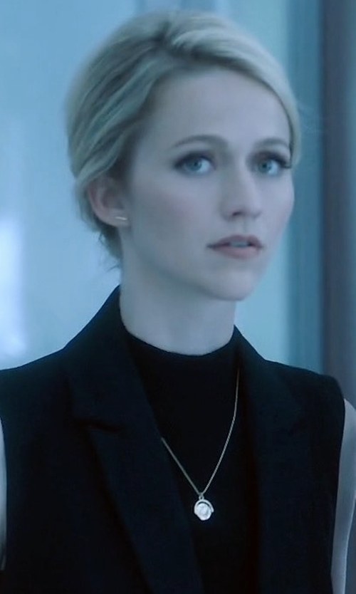 Johanna Braddy with Alexander Wang Wool Shawl-Collar Vest in Quantico