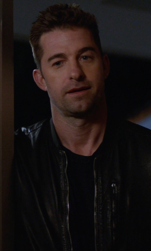 Scott Speedman with Mango Leather Biker Jacket in Animal Kingdom