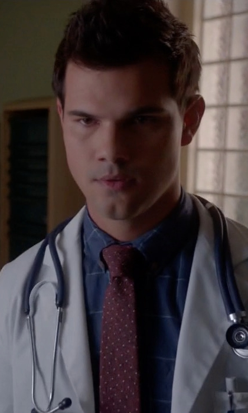 Taylor Lautner with Armani Collezioni Windowpane Fine-Stripe Silk Sport Shirt in Scream Queens
