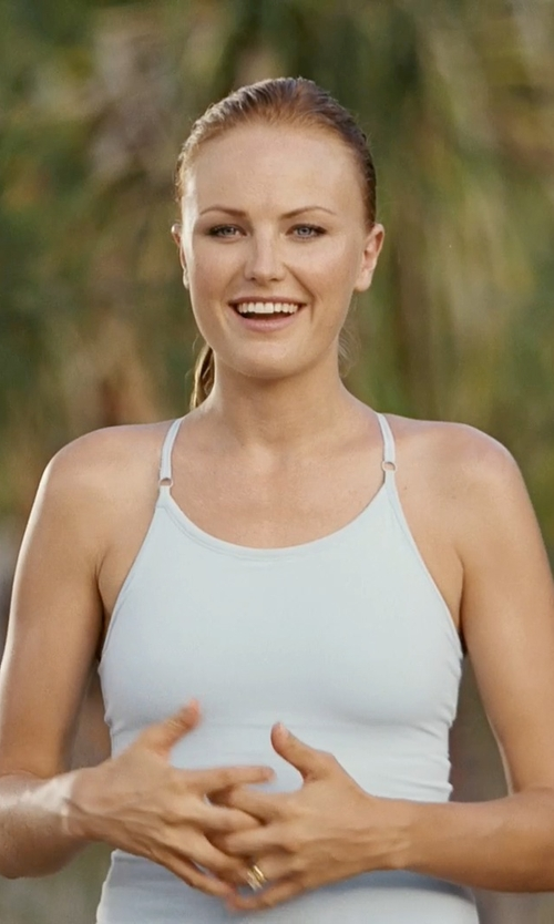 Malin Akerman with Clothes Effect White Ladies Halter Racerback Style Slim Fit Tank Top in Couple's Retreat
