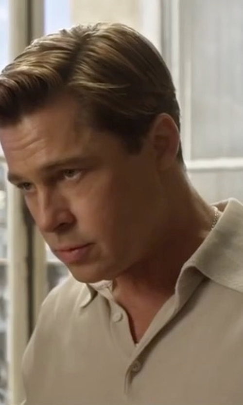 Brad Pitt with Polo Ralph Lauren Heathered Polo Shirt in Allied