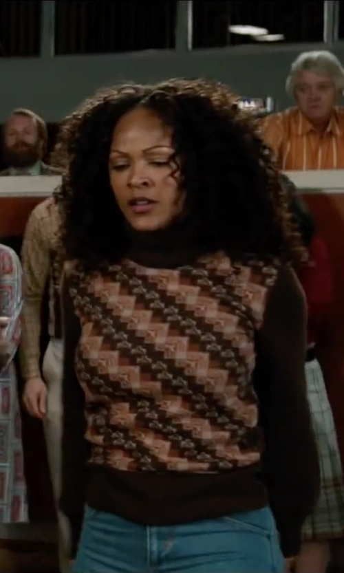 Meagan Good with Artka Women's Indian Two-sided Jacquard Turtleneck in Anchorman 2: The Legend Continues