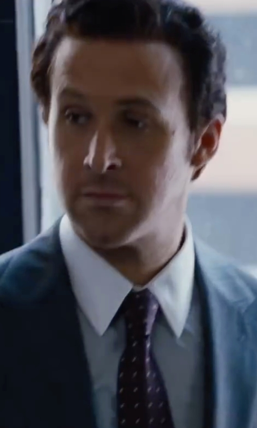 Ryan Gosling with Drake's Dot Embroidered Silk Tie in The Big Short