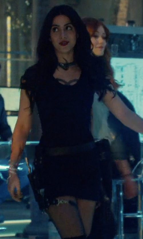 Emeraude Toubia with Alexander Wang Slit Sleeve Knit Dress in Shadowhunters