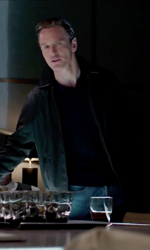Michael Fassbender with Hugo Boss Water Repellent Zip Up Jacket in Steve Jobs