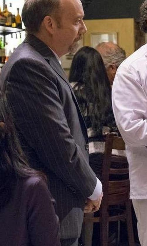 Paul Giamatti with Boss Tonal Stripe Two-Piece Suit in Billions