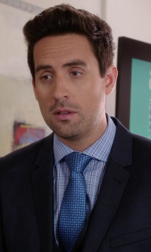 Ed Weeks with Kiton Square Print Tie in The Mindy Project