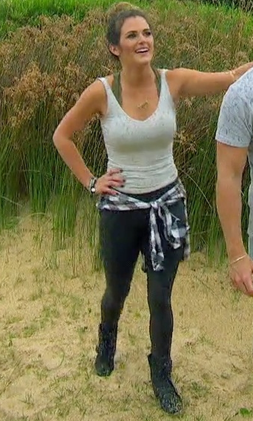 JoJo Fletcher with Spanx Cropped Faux Leather Leggings in The Bachelorette