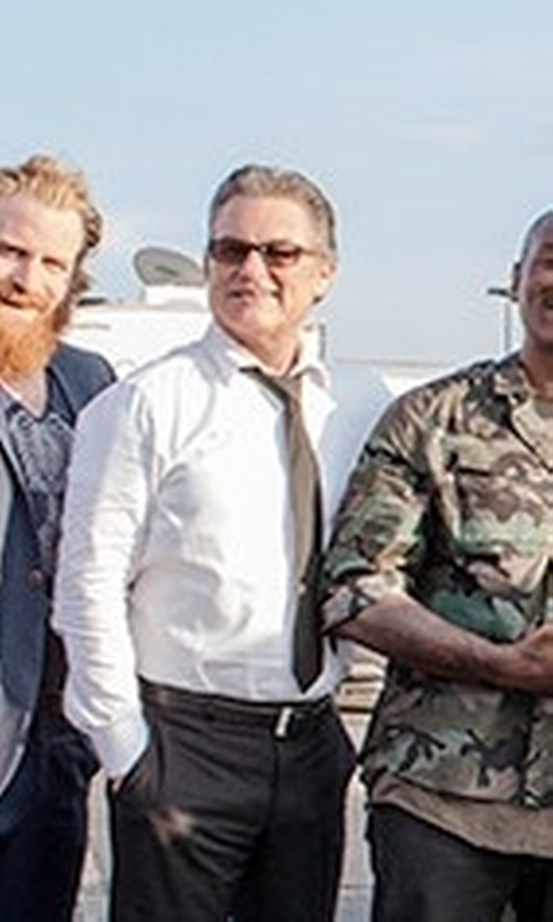 Kurt Russell with Prada Thick-Rim Rectangular Sunglasses in The Fate of the Furious