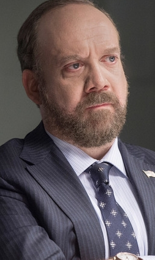 Paul Giamatti with Cufflinks, Inc. 'Star Wars Imperial Star' Print Silk Tie in Billions