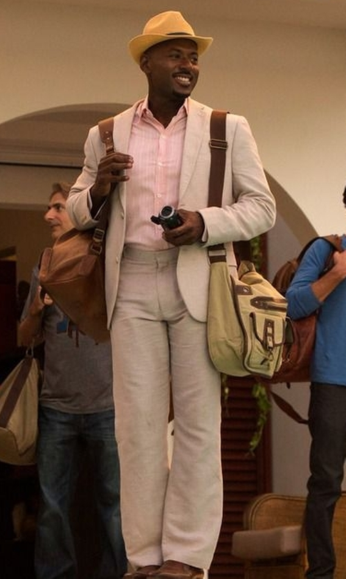Romany Malco with Calvin Klein Men's Malik Taupe Two-Button Side Vent Suit in Mad Dogs