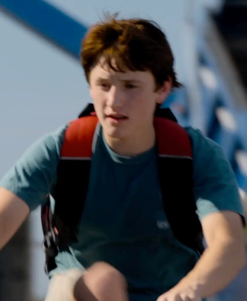 Nathan Gamble with Solid ClassMate Medium Backpack in Dolphin Tale 2