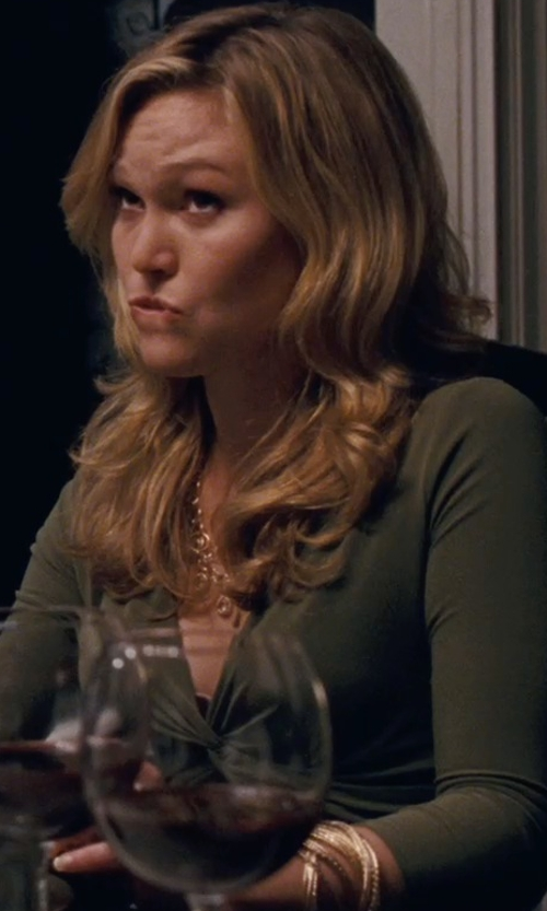 Julia Stiles with Nali Hammered Bangle Set in Silver Linings Playbook