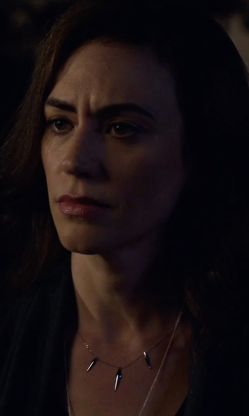 Maggie Siff with Vale Jewelry Three-Peak Necklace in Billions