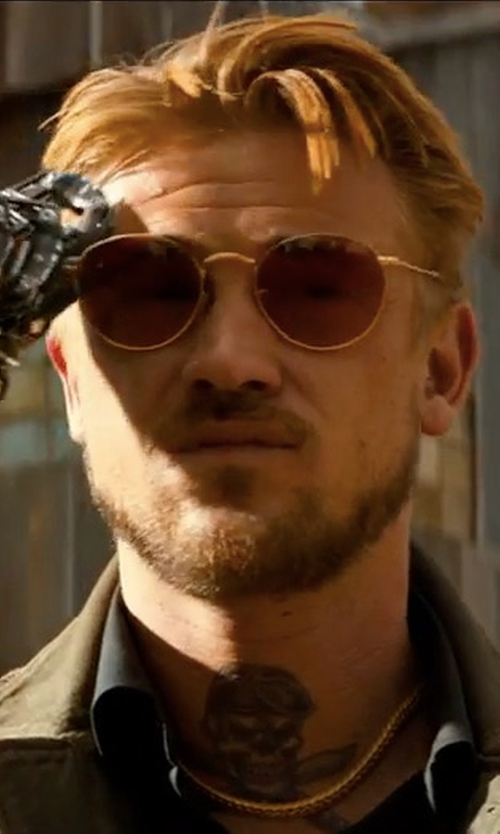 Boyd Holbrook with MCM Holographic 3D Visetos Round Sunglasses in Logan