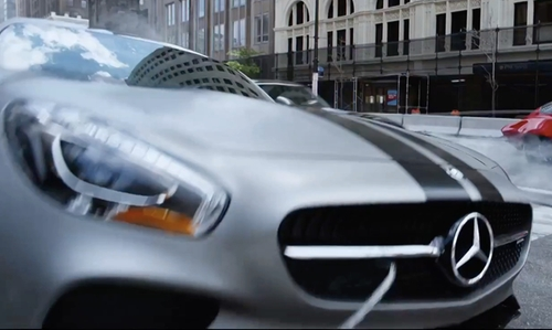 Tyrese Gibson with Mercedes-Benz AMG GT S Coupe in The Fate of the Furious
