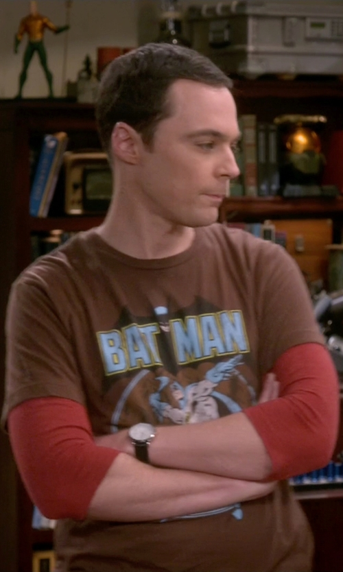 Jim Parsons with Spreadshirt Men's Batman - Arms Akimbo Bats T-Shirt in The Big Bang Theory