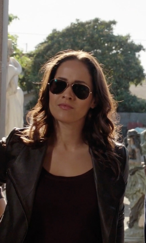 Jaina Lee Ortiz with Versace Metal Aviator Sunglasses in Rosewood
