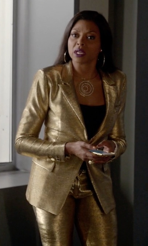 Taraji P. Henson with Versace One Button Pant Suit in Empire