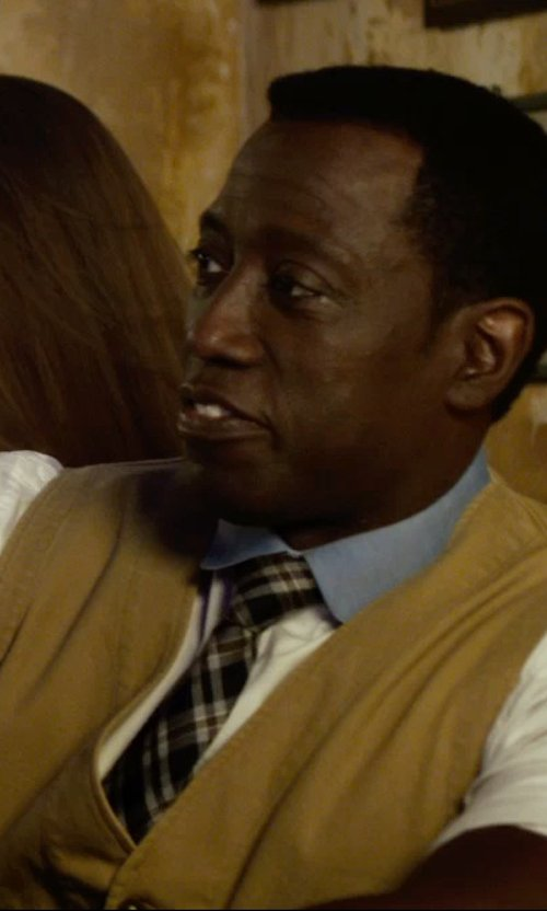 Wesley Snipes with Kiton Plaid Silk Neck Tie Made in Italy in The Expendables 3