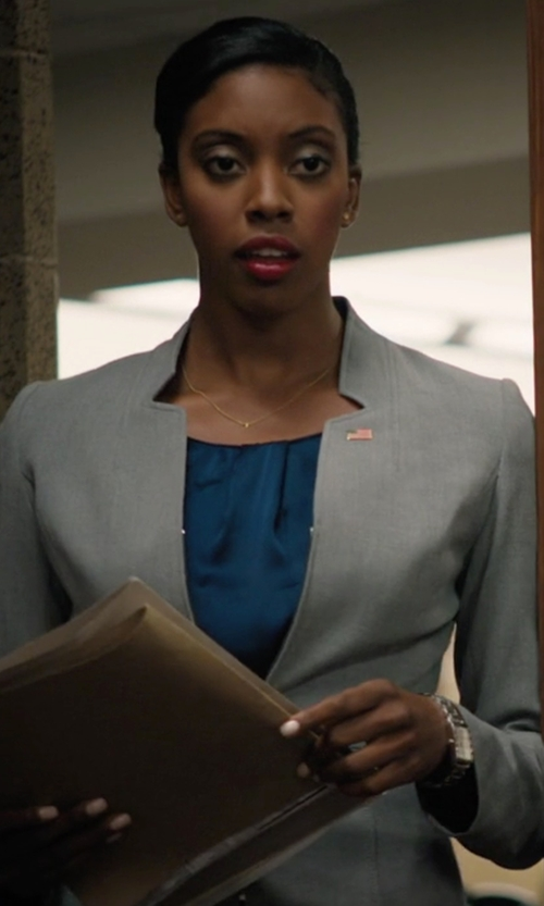 Condola Rashad with Ann Taylor Geo Tweed Jacket in Billions