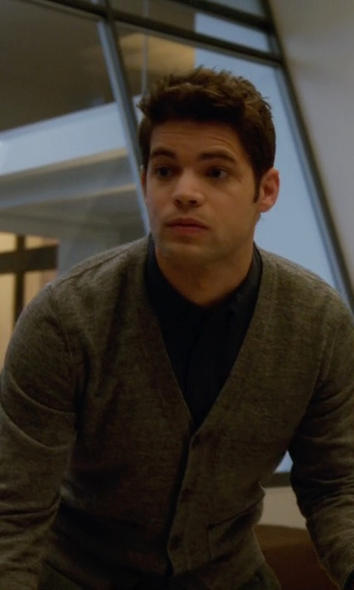 Jeremy Jordan with Hugo Boss Knit 'Barrio-D' Cardigan in Supergirl