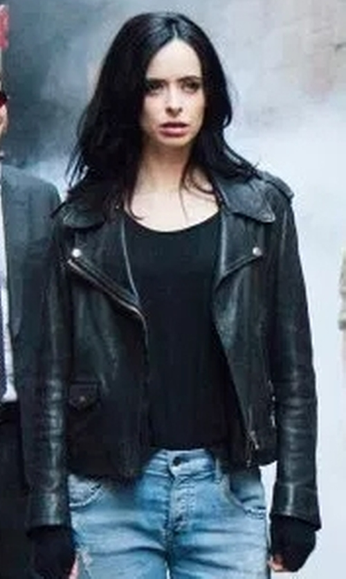 Krysten Ritter with Acne Studios Mape Leather Jacket in Marvel's The Defenders