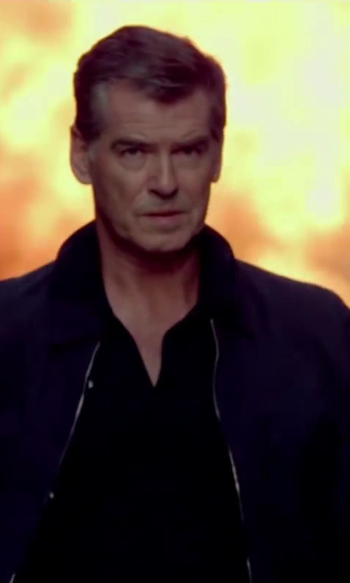 Pierce Brosnan with Brioni Midnight Blue Cotton-Blend Blouson Jacket in The November Man