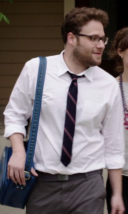 Seth Rogen with Grey Daniele Alessandrini Leather Buckle Belt in Neighbors