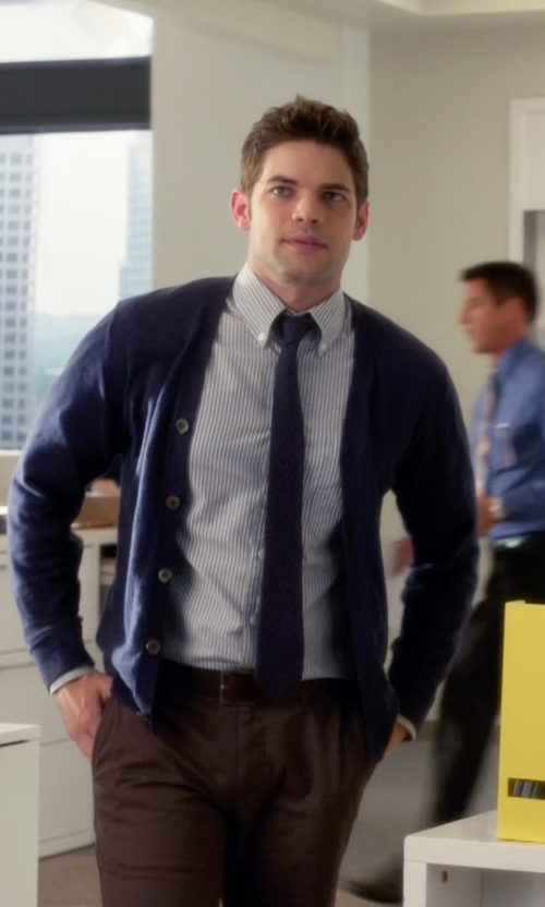 Jeremy Jordan with Ralph Lauren Striped Oxford Shirt in Supergirl