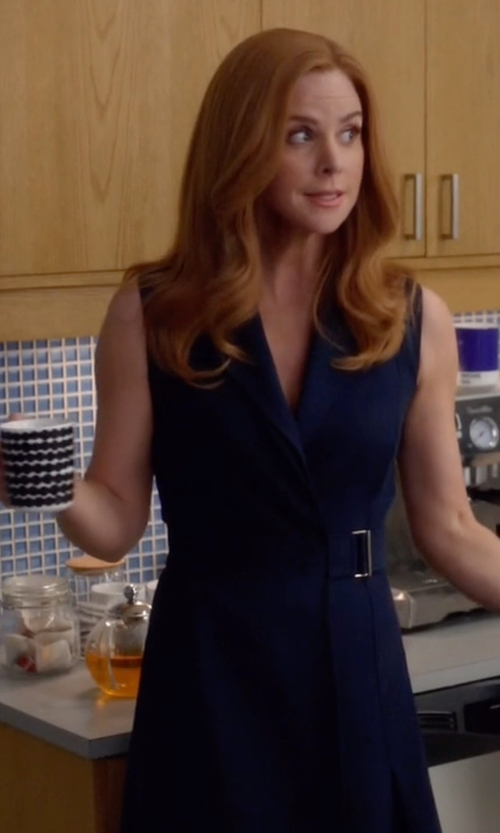 Sarah Rafferty with Jason Wu Flared Belted Dress in Suits