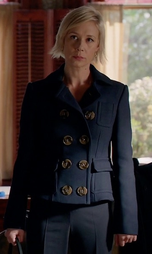 Liza Weil with Burberry Brit Milbridge Wool Twill Pea Coat in How To Get Away With Murder