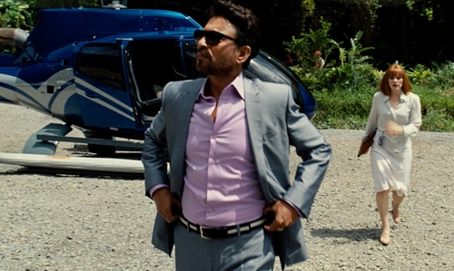 Irrfan Khan with Anto Beverly Hills Bright Lavender Herringbone Shirt in Jurassic World