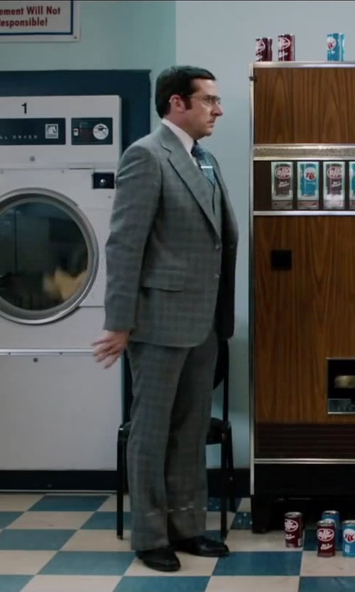 Steve Carell with Black Brown 1826 Silk & Wool Tie in Anchorman 2: The Legend Continues
