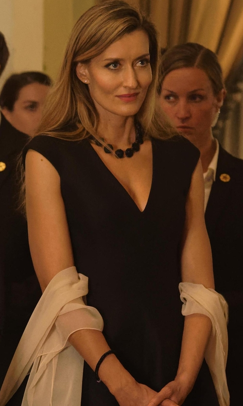 Natascha McElhone with Halston Heritage Cap-Sleeve V-Neck Fit-&-Flare Dress in Designated Survivor