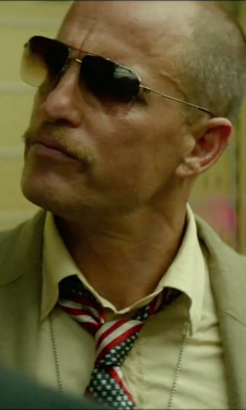 Woody Harrelson with Ray-Ban Semi-Rimless Aviator Sunglasses in Triple 9