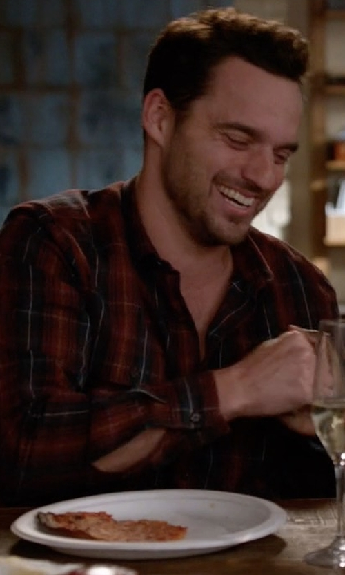 Jake Johnson with Huf Tardy Flannel Button Down Shirt in New Girl