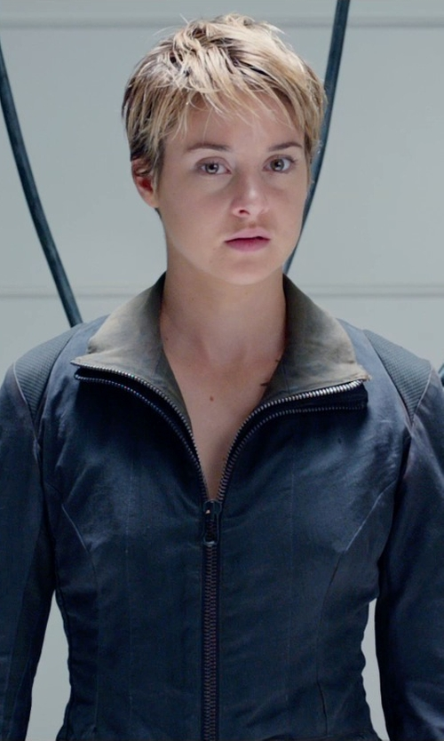 Shailene Woodley with Louise Mingenbach (Costume Designer) Custom Made 'Dauntless'  Jacket (Tris Prior) in The Divergent Series: Insurgent