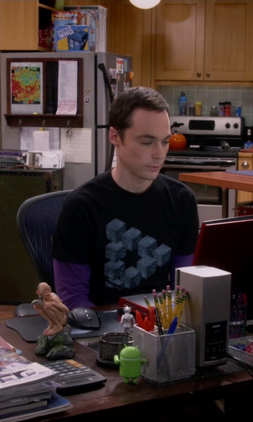 Jim Parsons with Doublju Mens Basic Crew Neck T-Shirts in The Big Bang Theory
